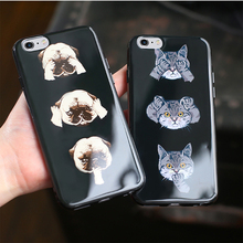 i6/6s cute cat dog  phone case for iphone 6/6s 4.7inch glossy and bright soft tpu mobile back cover