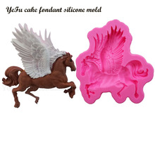 YeFu Hot Silicone Fondant Mold 3D Horse Cake decorating tools Chocolate Baking Moulds Pegasus soap Cake Mold T0682