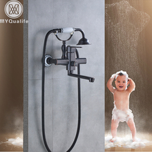 Black 20cm Outlet Spout Tub Faucet Wall Mounted Rotated Bath Shower Faucet with Handshower Brass One Handle Bathtub Mixers(China)
