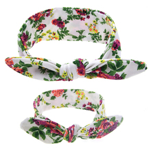 2Pcs/Set  DIY Mother & Girls BowKnot  Floral Print Flowers Headwrap Turban Rabbit Ears Headband Adjustable Hair Band Accessories