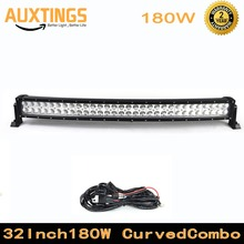 "32"" 180W curved led light bar COMBO Beam with Wiring kit for Work Driving Offroad Boat Car Tractor Truck 4x4 SUV ATV(China)"