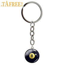TAFREE Number 8 Billiard Ball image key chains eight ball billiards Pool keychain fashion casual sports jewelry fans gifts B1156(China)