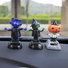 Solar Powered Dancing Swinging Car Ornaments Ghost Head Doll Car accessories Dancer Toy Car Inner Decor Halloween Gifts