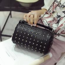 4 colors New quality pu leather women bag rivet Boston small bag mini spring models Mobile Messenger bag handbag pillow package(China)