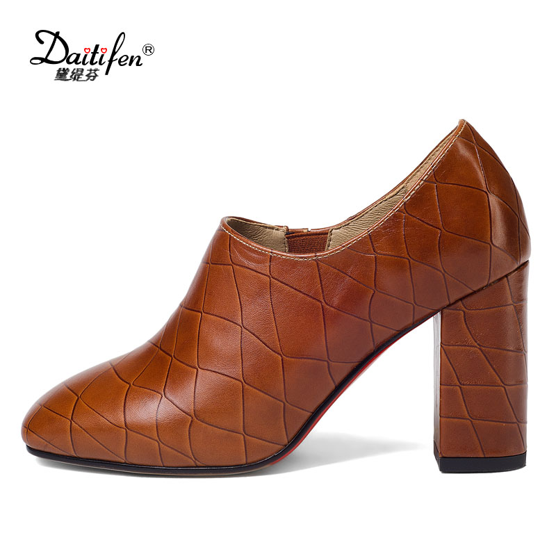Daitifen Genuine Leather Women Pumps Shoes Mid Heel Office Lady Shoes Square Toe Heels Pumps Real Leather Spring Autumn Footwear<br>