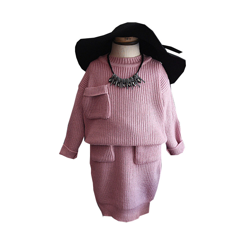 Toddler Girl Clothing Fashion Pink Knitted Sweater Baby Girl Winter Set Long Sleeve Pullover 2PC Girls Christmas Outfit 2-8Years<br><br>Aliexpress
