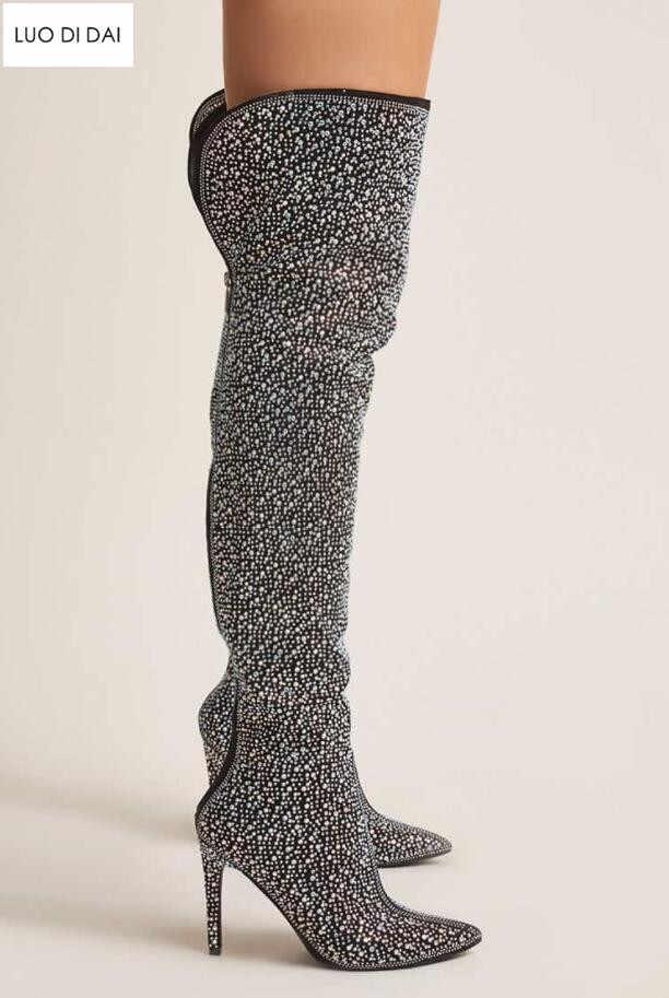 2019 glitter women thigh high boots multi diamond boots over knee high  women party shoes glitter edd595a2922d