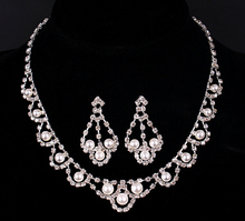 1set/lot silver bridal wedding jewelry sets elegant necklace and earring jewerly sets for brides women fashion design
