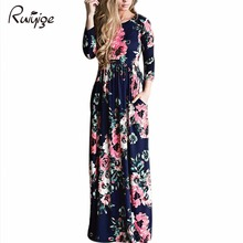 2017 Sexy Women Floral Print 3/4 Sleeve Boho Dress Ladies Party Long Maxi Dress Pocket Ice Silk Summer Beach Party Xmas Dresses(China)
