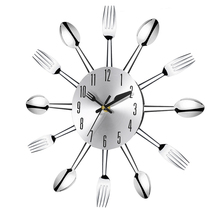 New Stainless steel knife and fork spoon kitchen restaurant wall clock Home Decoration(China)