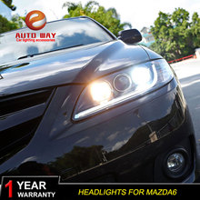 Car Styling Head Lamp case for Mazda6 mazda 6 M6 2004-2013 LED Headlight DRL Lens Double Beam Bi-Xenon HID(China)