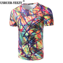 New Splash Ink T Shirt Men Colorful Printed Funny Tops Flowers Short Sleeve Hiphop Shirt Variety Of Fashion Male Brand 3DT-shirt