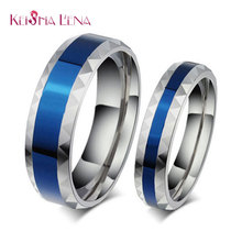 Keisha Lena Hot sale 4mm  316L Stainless Steel Finger Rings blue Woman's titanium steel rings for lover Blue Stainless ring
