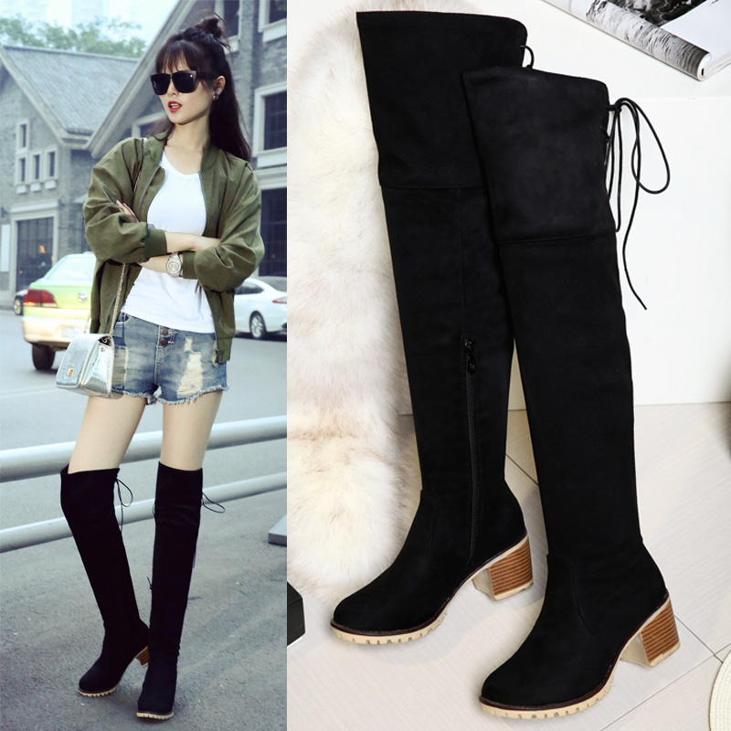 Women Stretch Faux Suede Slim Thigh High Boots Sexy Fashion Over the Knee Boots High Heels Woman Shoes Black Blue Winered size43<br><br>Aliexpress