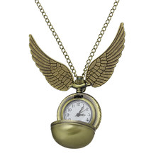 Harry Potter Golden wings snitch Watch Quartz Pocket Watch Necklace Steampunk Quidditch Pocket Clock For Men Women
