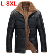 2017 big size 9XL 8XL 7XL 6XL 5XL Winter Thick Leather Garment Casual flocking Leather Jacket Men's Clothing Leather Jacket Men(China)