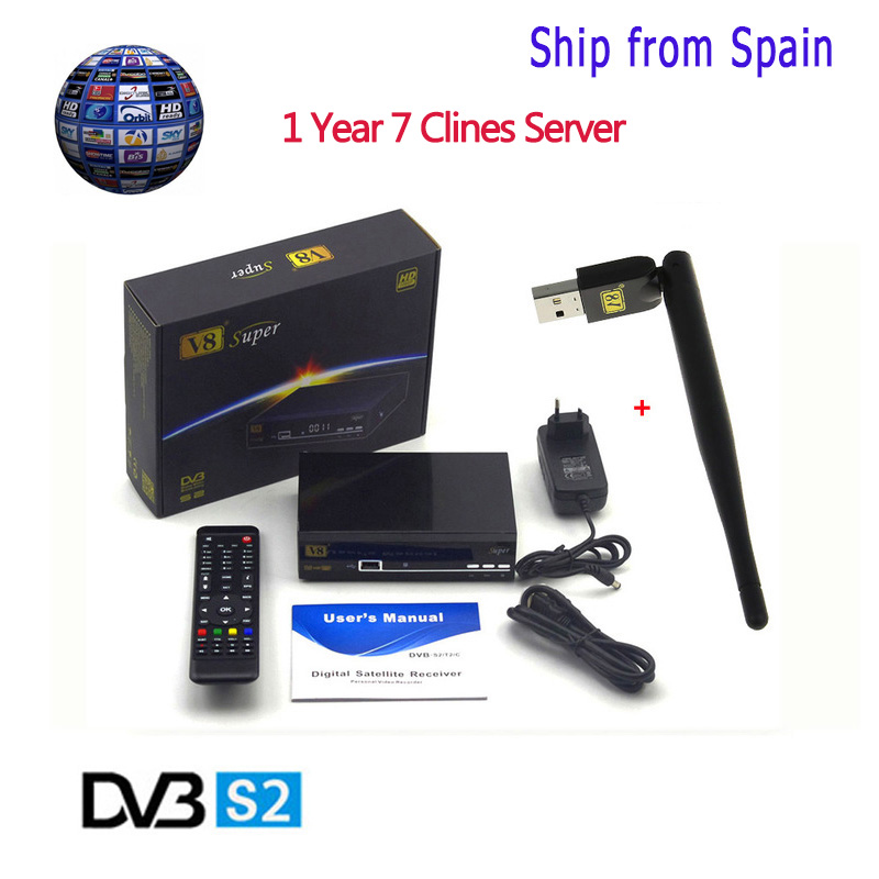 1 Year Free Europe Clines Server Freesat V8 Super Satellite Receiver DVB-S2 HD Full 1080P+1pc USB WIFI Support powervu biss key<br>