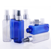 Free shipping 300pcs/lot 100ml PET Plastic empty beautiful perfume water SPRAY bottle square bottles BLUE D COLOR