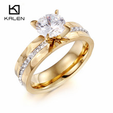 Kalen New Fashion Women Finger Rings Italian Gold Stainless Steel & Zircon Rings For Engagement Wedding Jewelry Rings Gifts 2017(China)