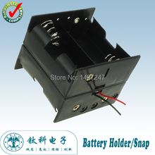 4 D Battery holder Dual Wire Double Side Spring Loaded Black Plastic Storage Box Wired TBH-D-4E