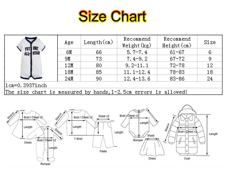 baby rompers size chart