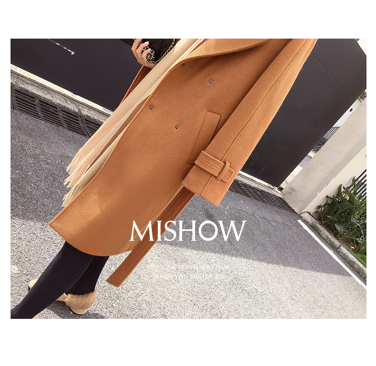 Mishow 19 autumn and winter woolen coat female Mid-Long New Korean temperament women's popular woolen coat MX17D9636 35