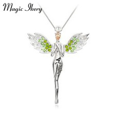Magic Ikery Gold Color Zircon Crystal design Angel wings Feather Necklaces Pendants Fashion Jewelry for women MKL2504(China)