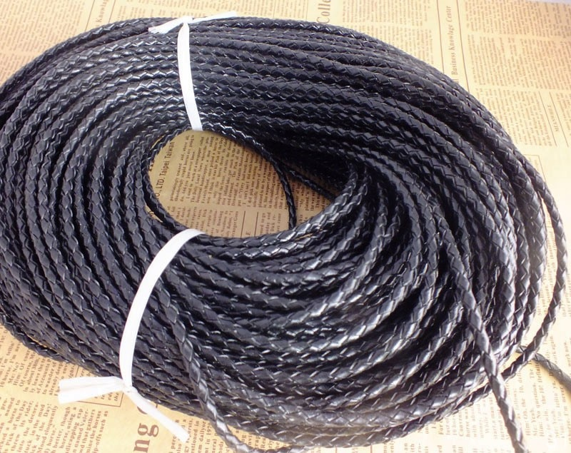 (Black)50meters/bag 3mm braid leather cord fitting DIY bracelets and necklaces wholesale price  W-3967