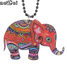 Newei elephant necklace pendant acrylic 2017 news accessories spring summer cute animal design girls woman fashion jewelry