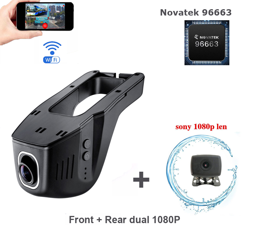 Novatek 96663 Wifi Car DVR cameras Front Rear dual...