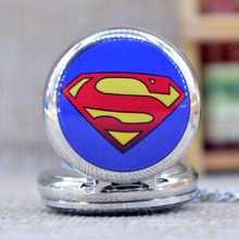 New Fashion Silver S Superman Mirror Case Quartz Pocket Watch Analog Pendant Necklace Mens Womens Gifts
