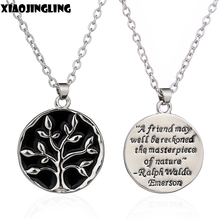"XIAOJINGLING Hot Selling  Engraved life Tree Necklace Letter ""A Friends May Well Blackboard  ""Necklaces Monogram Pendant Jewelry"