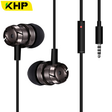 KHP 3.5mm Metal Super Bass Volume Control In-Ear Earphone For iPhone Samsung LG All Mobile Phone MP3 MP4 Earphones(China)
