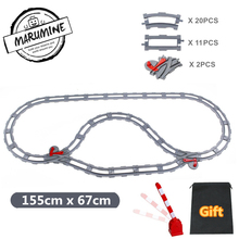 Marumine Blocks Duplo Toy Train Track Crossover Parts Railway Switch Building Bricks Gift for Children(China)