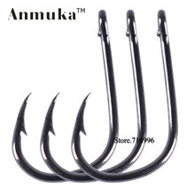 Anmuka brand 100pcs 50pcs Free Shipping Hight Quality Bulk Sharped fishing hooks Ring Forged,High Carbon Steel Hook Wholesale(China)