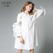Buy GUTU 2018 new autumn lapel long sleeve solid color black white loose lotus leaf edge big size dress women fashion tide JA74701 for $24.94 in AliExpress store