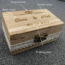 Free Shipping Personalized Wooden Wedding Ring Box Custom Bride & Groom Wood Engagement Ring Box with Lace Burlap Supplies
