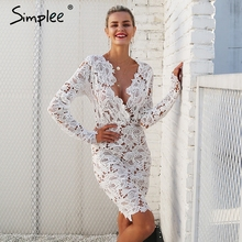 Simplee Sexy v neck lace dress women Floral perspective vintage winter dress autumn Long sleeve bodycon club party dress female(China)