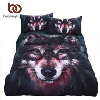 BeddingOutlet Wolf Bedding Set Painting 3D Vivid Duvet Cover Quality Twill Cool Bed Set Multi Sizes 3pcs