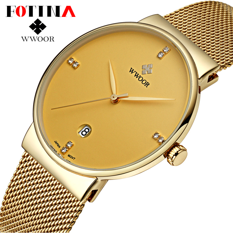 Fotina Casual WWOOR Ultra Thin Watch Men Date Clock Male Waterproof Steel Analog Quartz Watch Men Black Gold Sports Wrist Watch<br><br>Aliexpress