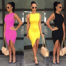 NEW 2016 Over Slim Dresses Women Summer Dress Sleeveless Women Dress Sexy Dress Tops Tee Pullover