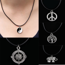 Vintage 11 Styles Yin Yang Compass Anchor Leather Chain Choker Pendant Necklace Women Men Jewelry Gifts Ornaments