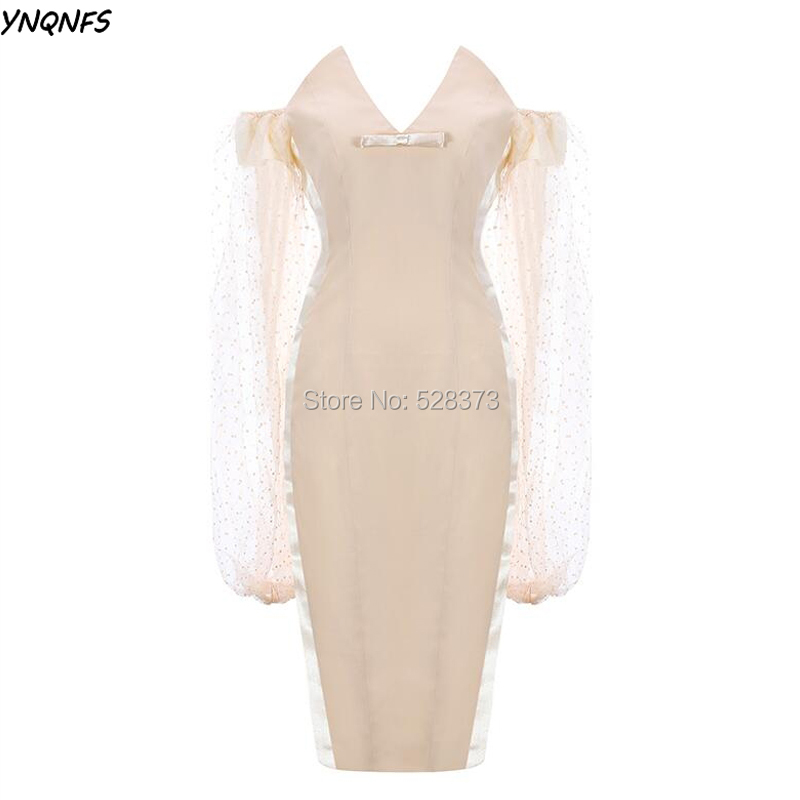 YNQNFS MD152 Elegant Champagne Short Mother Gowns Outfits Off Shoulder Flare Long Sleeves Guest Cocktail Bride Party Dress 2019
