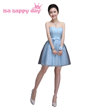 sky blue strapless short sweet 16 tulle homecoming ball gown beautiful cheap dresses for formal under 100 dress H3383(China)