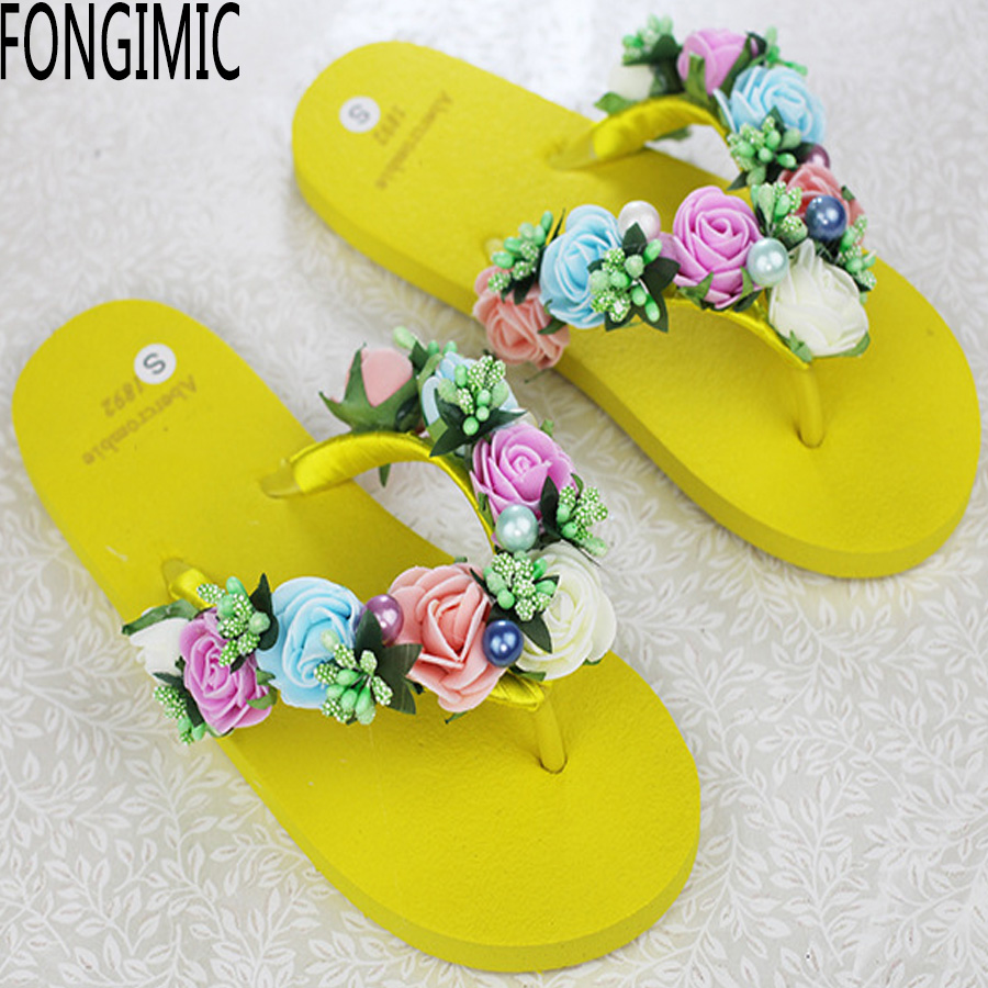 Trend top women new summer flat bottom sandals flower string bead flip flops fashion  beach holiday no-slip comfortable shoes<br><br>Aliexpress