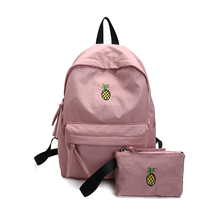 Women Pink Backpack Waterproof Fruit Pineapple Embroidery Backpack 2 PCS/Set High College School Students Shoulder Bag nbxq181