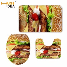 HUGSIDEA Custom 3D Food Hamburger Fries Printed Floor Carpet 3PCS Set Bathroom Non-slip Area Rugs Soft Pads for WC Toilet Mats