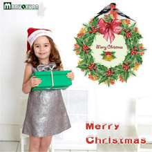 New Christmas Green Garland Stickers Bedroom Living Room Glass Decoration Background Stickers Can Remove Wall Stickers Wholesale(China)