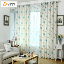 DIHIN 1 PC Garden Floral Curtains For Living Room Sheer Curtain Shade Blinds Ready Made Product