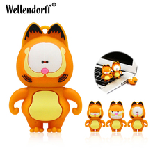 Cute Garfield Silicone usb flash drive 4GB 8GB 16GB 32GB 64GB U Disk pendrive USB 2.0 key usb memoria stick for gift(China)